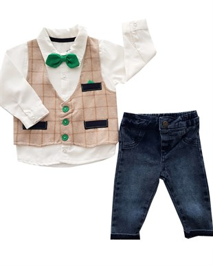 Green Bow Tie  2 Piece Jeans Set